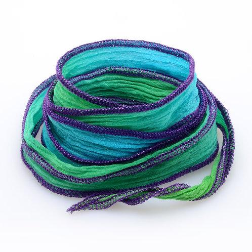 Silk wrap | Turquoise Green Purple