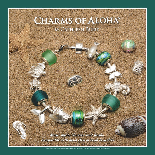 Green Beach Glass and Peacock Leaf Bracelet
