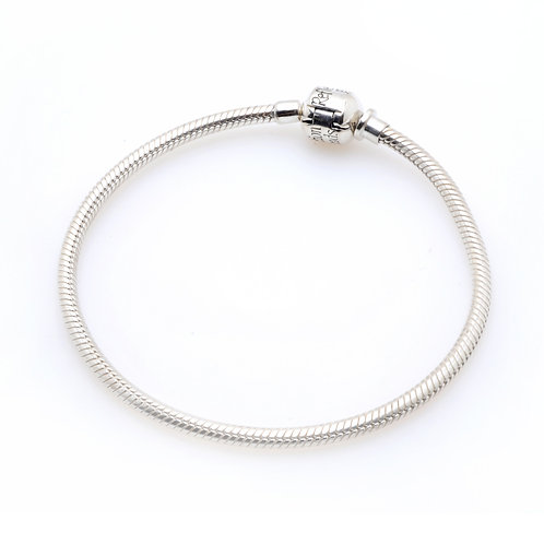 Silver Bracelet with Ball Clasp