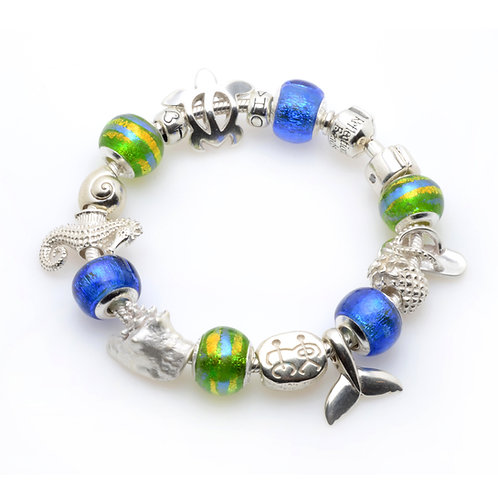 Blue Skies - Green Palms Bracelet