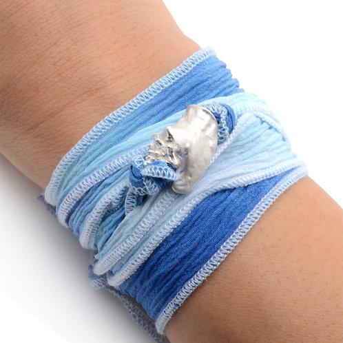 Conch on Blue White Fade Silk Wrap