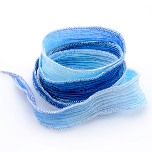 Silk wrap | Blue White Fade