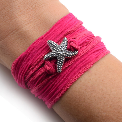 Starfish on Deep Pink Silk Wrap