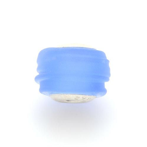 Glass Bead | Lt Blue Beach Glass Ridges