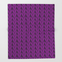 Knitted Stitches in Magenta Throw Blanket