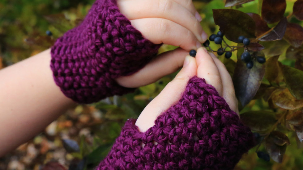 big kids size 5 years to 11 years old * washable reversible fingerless mitts *
