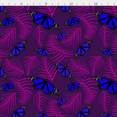 blue butterflies in purple and pink