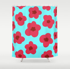 pink petaled cherry blossoms in sky blue Shower Curtain