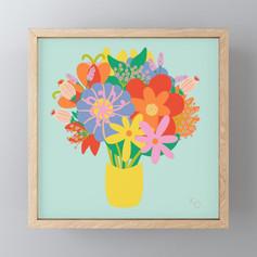 happy rainbow flowers Framed Mini Art Print
