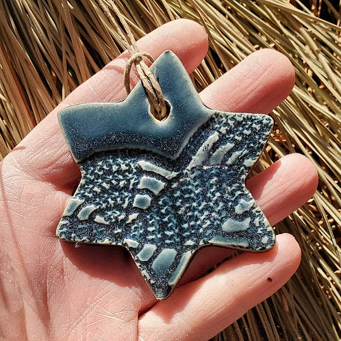 variegated slate round lace textured star of david - ceramic ornament