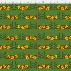 lush garden - rows of basil and nasturtium