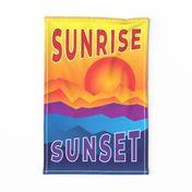 sun rise sun set tea towel