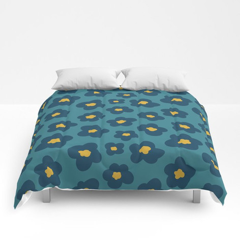 poppy in blue and gold on teal green Comforters