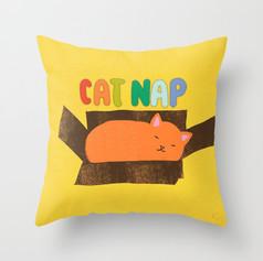 Cat Nap - Cat in a Box Throw Pillow