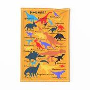 dinosaur abc tea towel