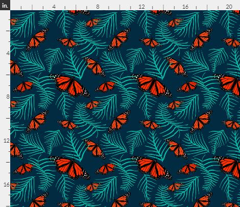 monarchs in the fern leaves