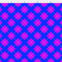 argyle in purple yellow and blue