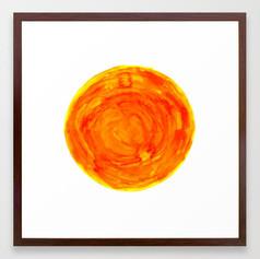 bright warm watercolor sun yellow orange red Framed Art Print