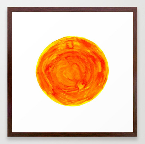 bright warm watercolor sun yellow orange red Framed Art Print