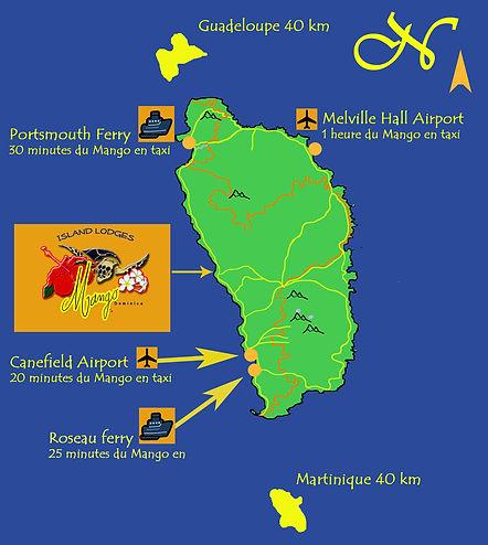 localisation ferry et aeroport La Dominique