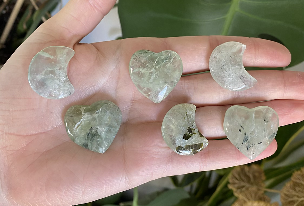 Prehnite with Epidote hearts and moons