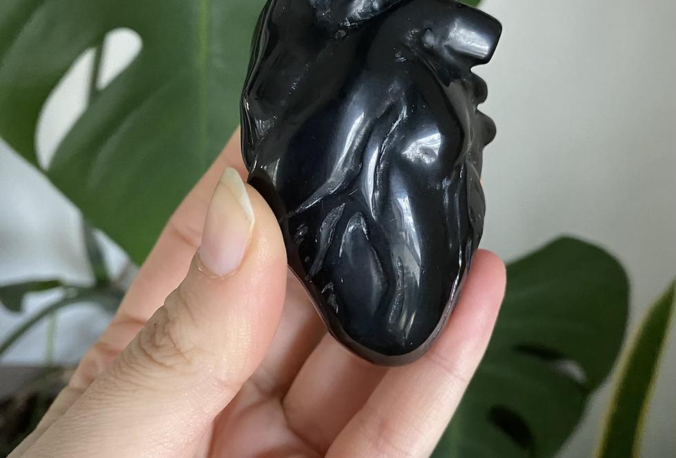 Golden Sheen Obsidian Anatomical Heart