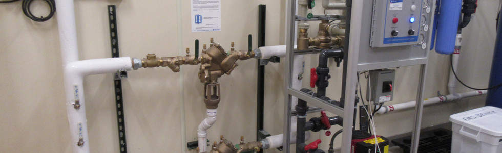 Twin reduced pressure zone backflow preventers and related water treatment equipment
