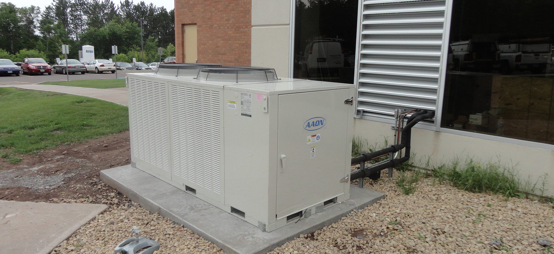 Air Cooled Condensing unit serving an indoor air handling unit