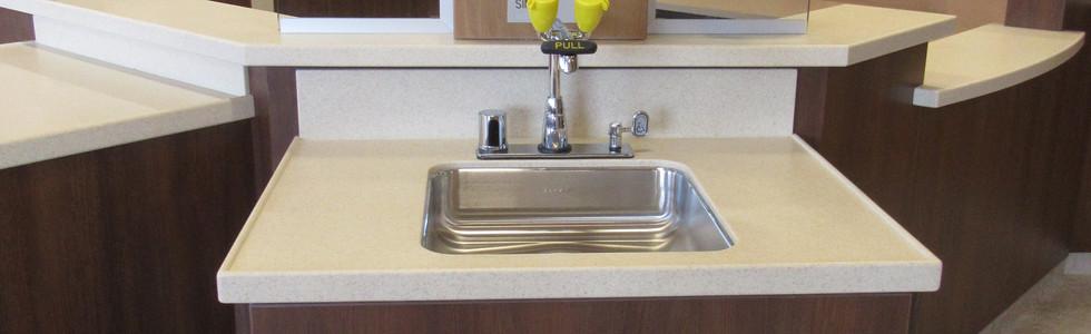 Nurse hand wash sink combination hands free faucet/eyewash