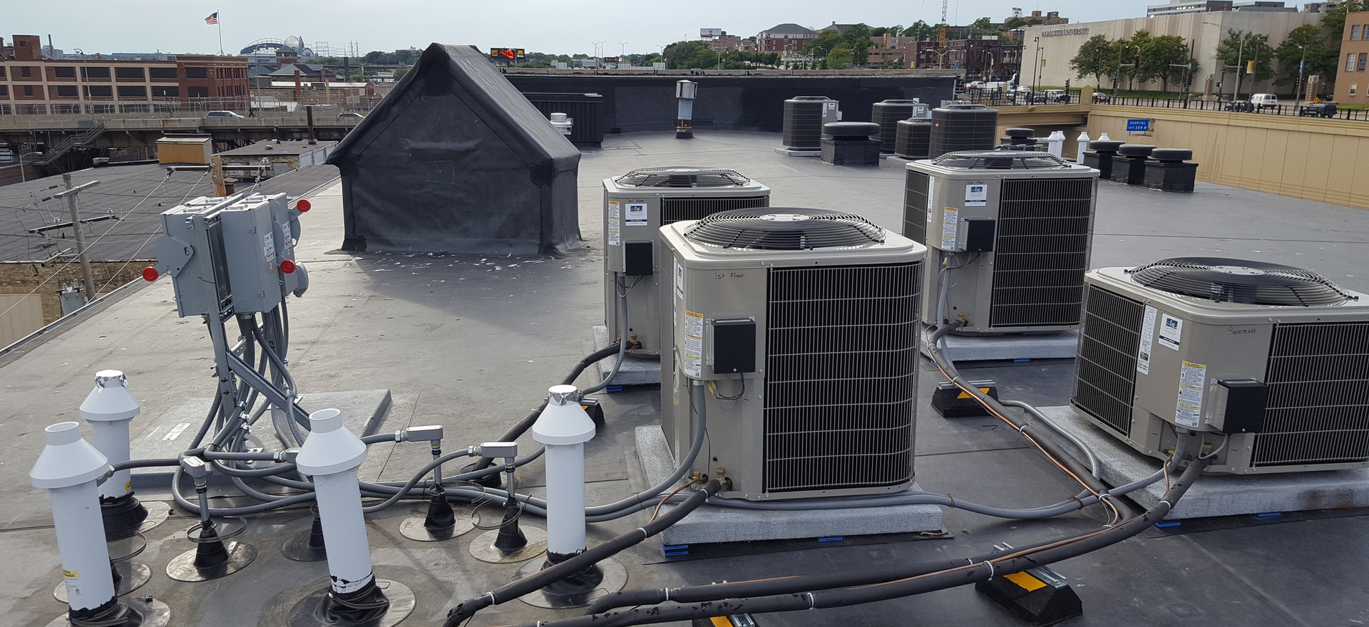 Rooftop equipment serving a multi-story office building