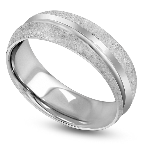 Half Round Off Center Groove Band with Satin Finish