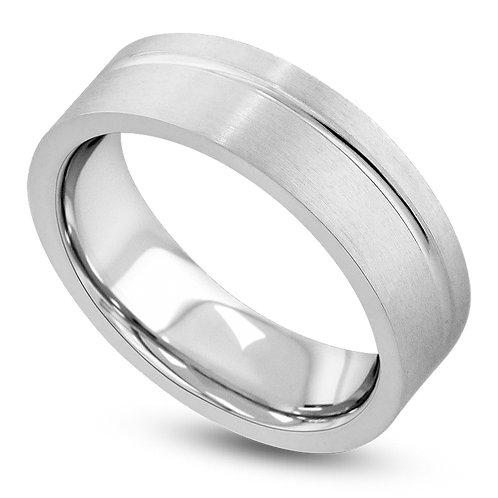 Flat Single Offset Groove Band with Bright & Satin Finish