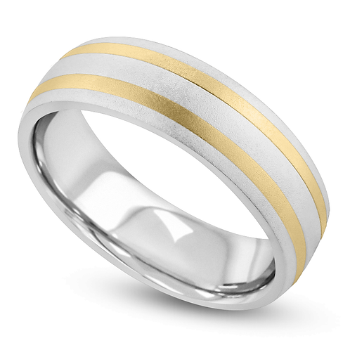 Two-Tone Inlaid Low Dome Band with Satin Finish