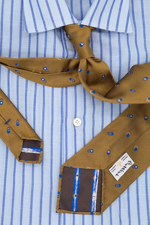 Cravate jacquard moutarde : motifs ronds bleus et blancs