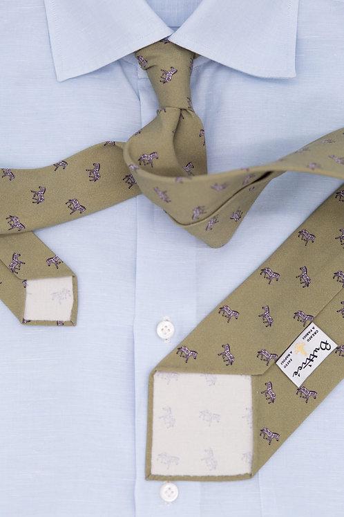 Cravate imprimée absinthe : motifs zèbres