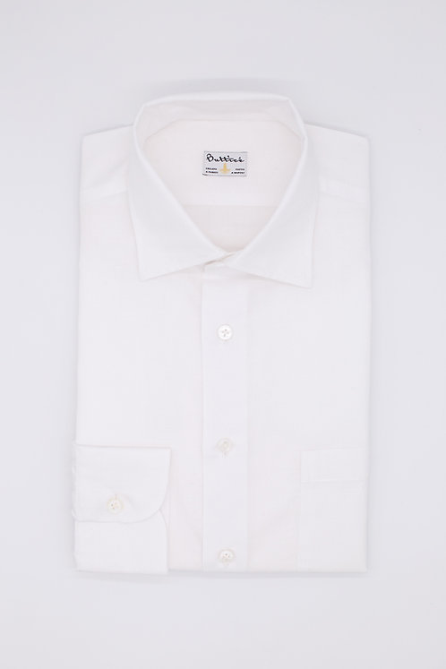 Chemise col italien tissu coton et lin uni : blanc