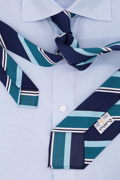 Cravate jacquard rayures club : bleues/émeraudes/turquoises