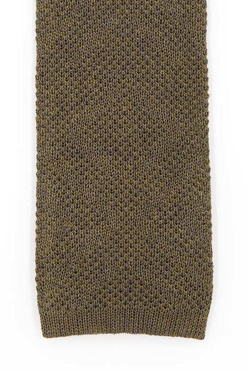 Cravate en tricot de lin et soie : vert sapin