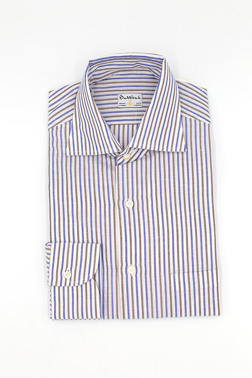 Chemise col italien tissu Grandi & Rubinelli coton et lin rayures : bleu/marron