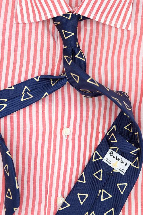 Cravate imprimée bleue : motifs triangles jaunes