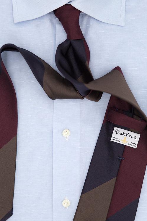 Cravate soie rayures : bleu/bordeaux/marron