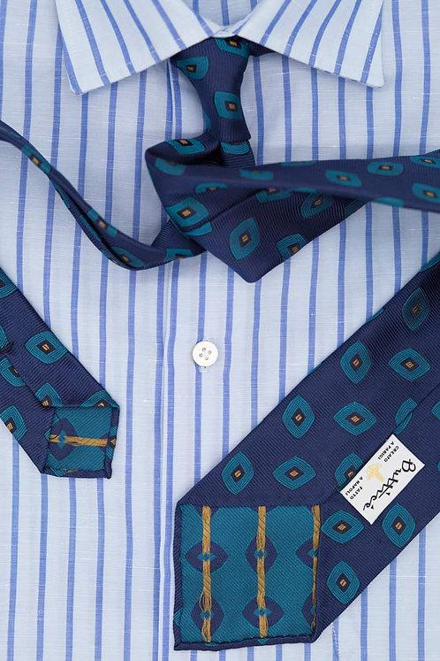 Cravate jacquard bleue : motifs émeraude