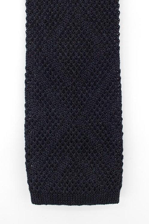 Cravate en tricot de lin et soie : bleue nuit