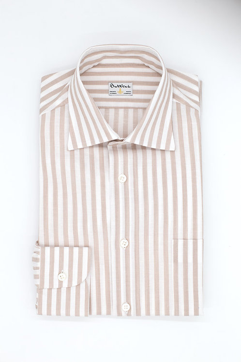 Chemise col italien tissu coton et lin rayures : sable