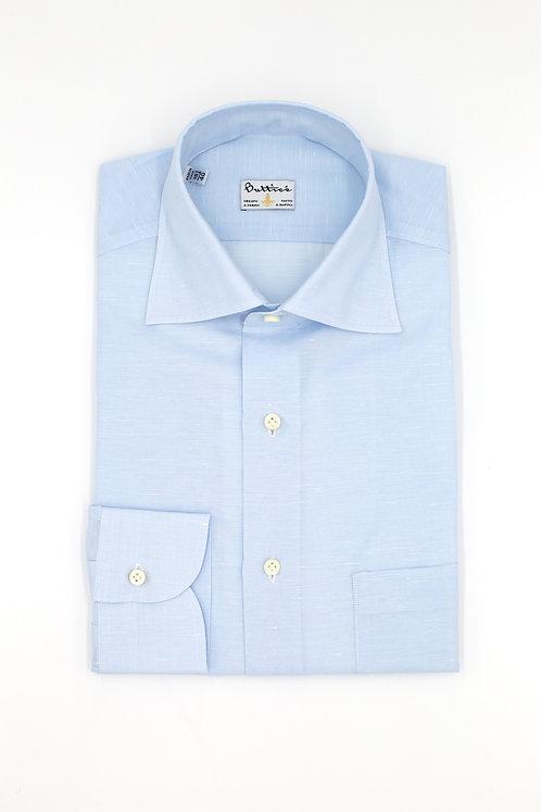 Chemise col italien tissu Grandi & Rubinelli coton et lin uni : bleu ciel