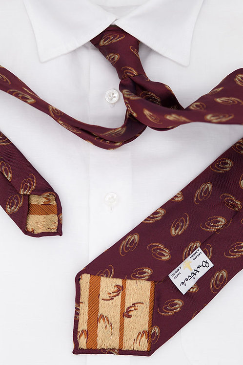 Cravate jacquard bordeaux : motifs flammes oranges