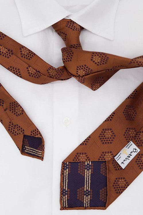 Cravate jacquard rouille : micro motifs pointillés rouille