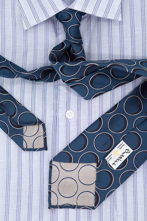 Cravate jacquard bleue : motifs cercles