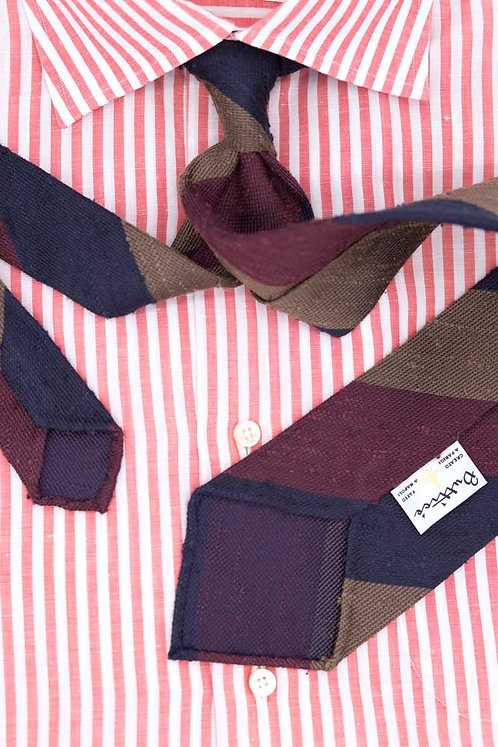 Cravate jacquard rayures club : bleues/bordeaux/beige