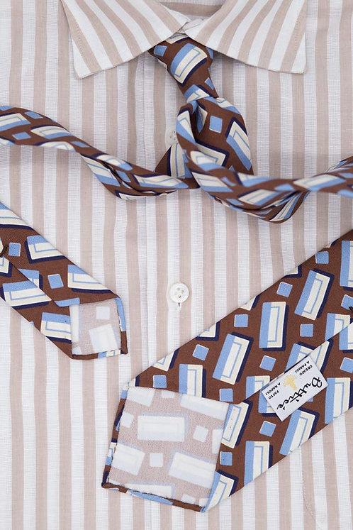 Cravate imprimée marron : motifs formes rectangulaires bleues